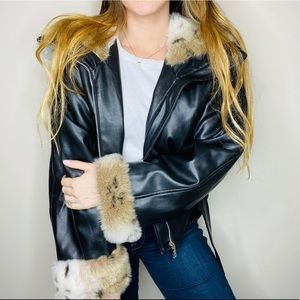 In Charge Black Faux Leather Oversized Hood Jacket